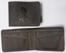 Купить Шкіряний гаманець-кардхолдер НГУ (коричневий) Спеціальна ціна в интернет-магазине Каптерка в Киеве и Украине
