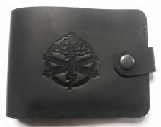 Шкіряний гаманець з символикою Артилерія України (Чорний)