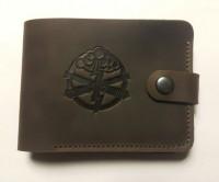 Шкіряний гаманець з символикою Артилерія України (коричн)