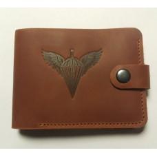 Шкіряний гаманець з символикою ДШВ України (руда шкіра)
