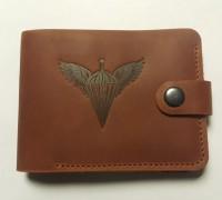 Шкіряний гаманець з символікою ДШВ України (руда шкіра)