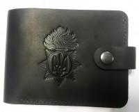 Шкіряний гаманець з символикою Національна Гвардія України (Чорний) АКЦІЯ!