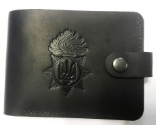 Шкіряний гаманець з символикою Національна Гвардія України (Чорний)