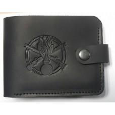 Шкіряний гаманець з символикою Піхота України. Чорна шкіра