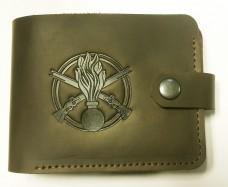 Шкіряний гаманець з символикою Піхота України Колір хакі