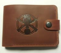 Шкіряний гаманець з символікою Піхота України Колір рудий