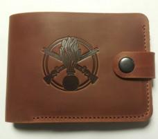 Шкіряний гаманець з символикою Піхота України Колір рудий