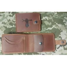 Шкіряний гаманець з символикою Танкові Війська України (руда)