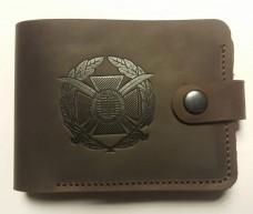 Шкіряний гаманець з символикою ЗСУ (коричневий)