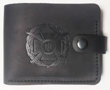 Шкіряний гаманець з символикою ЗСУ (чорний)