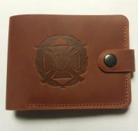 Шкіряний гаманець з символикою ЗСУ (руда шкіра)