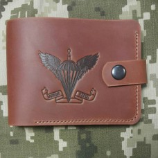 Шкіряний гаманець ДШВ України (руда шкіра)