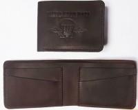 Шкіряний гаманець-кардхолдер ВДВ України (коричневий)