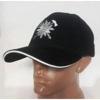 Бейсболка з вишивкою Едельвейс чорна