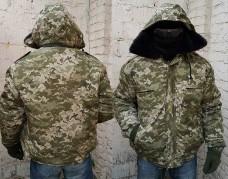 Бушлат-куртка с капюшоном камуфляж укрпиксель