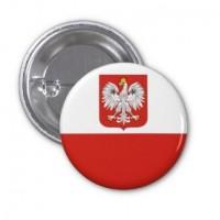 Значок флаг Польши с гербом