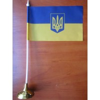 Настільний прапорець Україна з тризубом