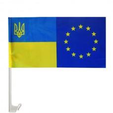 Купить ЕС-Украина автофлаг Символический флаг Евросоюз Украина в интернет-магазине Каптерка в Киеве и Украине