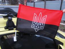 Червоно-чорний автомобільний прапорець з тризубом