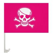 Розовый пиратский флаг на авто