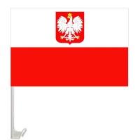 Автомобільний прапорець Польща з гербом