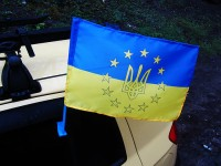 Автофлаг Украина в Евросоюзе флажок на авто