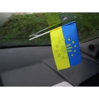 Автофлажок Украина в Евросоюзе в украинских цветах с тризубом