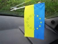 Украина - Евросоюз символический флажок в авто