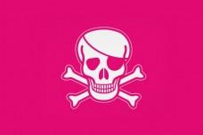 Розовый пиратский флаг