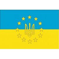 Украина в Евросоюзе флаг в украинских цветах с тризубом