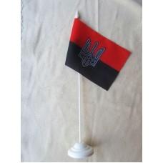 Червоно-чорний настільний прапорець з тризубом