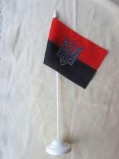 Красно-черный флаг с тризубом - настольный флажок
