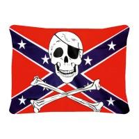 Декоративна подушка прапор Конфедерації з черепом