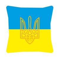 Подушка флаг Украины с Тризубом (желтый)