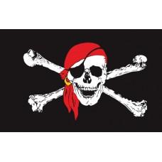 Піратський прапор череп в червоній бандані