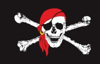 Пиратский флаг череп в красной бандане