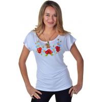 Женская футболка с вышивкой маков и ромашек