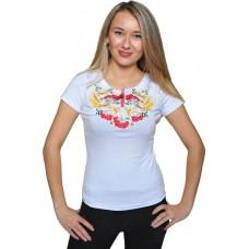 Женская футболка с вышивкой цветов колосков и калины