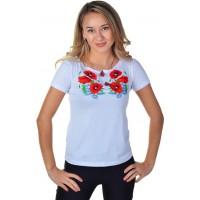 Женская футболка с вышивкой с узорами мака и цветочками