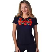 Женская футболка с вышивкой маков