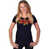 Женская футболка с вышивкой мака