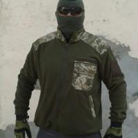 Куртка флисовая олива, вставки укрпиксель
