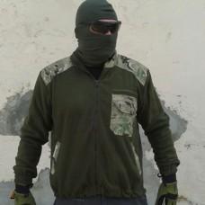 Куртка флисовая олива, вставки мультикам Сезонная скидка 20%