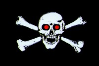 Прапор Череп і кістки червоні очі