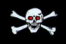 Флаг Череп и кости красные глаза