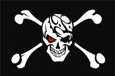 Флаг Череп и кости, красный глаз