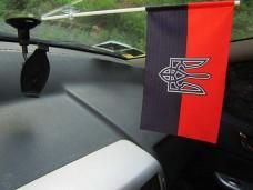 Автомобільний прапорець червоно-чорний з тризубом