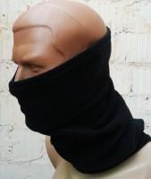 Зимний флисовый шарф-труба с затяжкой черный. Комфорт холод ***