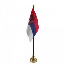 Сербия с гербом настольный флажок