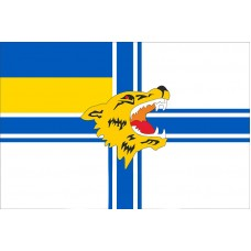 Прапор 1 ОБМП Морська пiхота України (ВМС, голова вовка)